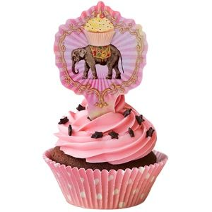NEW Circus Elephant Party Cupcake Toppers 12 pcs.